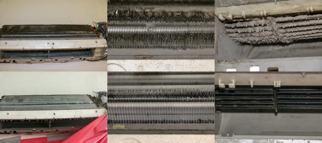 Fotky klimatizace před a po vyčistění.